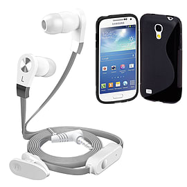 iSOUL Silver In-Ear Stereo Earphone Flat Cable Headphone Samsung I8190 Galaxy S4 Mini - Black Mobile phones