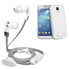 iSOUL Silver In-Ear Stereo Earphone Flat Cable Headphone Samsung I8190 Galaxy S4 Mini - Clear Mobile phones