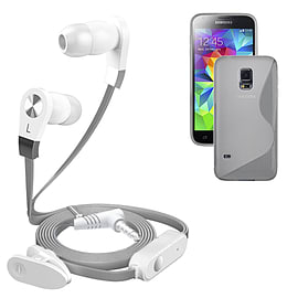 iSOUL Silver In-Ear Stereo Earphone Flat Cable Headphone Samsung I9600 Galaxy S5 S-5 - Clear Mobile phones