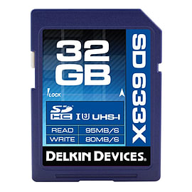 Delkin 32GB SDHC 633X UHS-I U3 Class 10 Memory Card - 95MB/s Read | 80 MB/s Write Multi Format and Universal