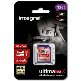 Integral 32GB UltimaPro-X SDHC UHS-I U3 Class 10 Card - 95MB/s read 60MB/s write Multi Format and Universal