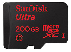 SanDisk 200GB Ultra Android MicroSDHC + SD Adapter 48MB/s Class 10 Multi Format and Universal