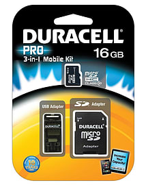 Duracell 16GB Micro SDHC Class 10 3in1 Kit Including SDA/USB Adapter Flash Card. Multi Format and Universal