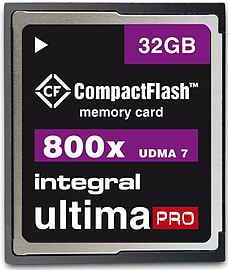 Integral 32GB 800X Spped Ultima-Pro UDMA 7 High Speed Compact Flash Card. Multi Format and Universal