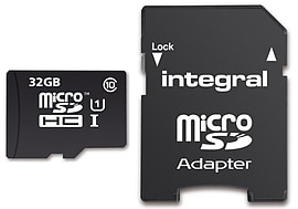 Integral 32GB microSDHC Class 10 UHS-I U1 90MB/s inc SD Adapter. INMSDH32G10-90U1 Multi Format and Universal
