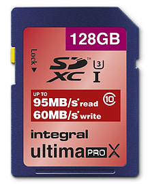Integral 128GB UltimaPro X SDXC UHS-I U3 Class 10 Card - 95MB/s 60MB/s Read/Write. Multi Format and Universal