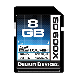 Delkin 8GB 600X SDHC UHS-I Memory Card - 90MB/s Read - 45MB/s Write. DDSD600-8GB Multi Format and Universal