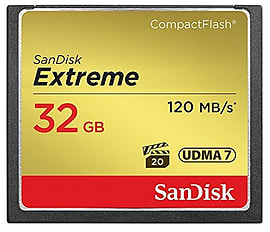 SanDisk 32GB Extreme Compact Flash Card 120MB/s Read - 85MB/s Write Multi Format and Universal