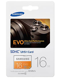 Samsung 16GB EVO SDHC Class 10 UHS-Grade 1. Flash Card. Multi Format and Universal