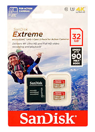 SanDisk 32GB Extreme MicroSDHC Action Cam Memory Card TWIN PACK Multi Format and Universal