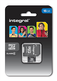 Integral 16GB MicroSDHC Class 4 Card With + SDHC Adapter Multi Format and Universal
