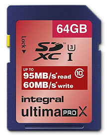 Integral 64GB UltimaPro X SDXC UHS-I U3 Class 10 Card - 95MB/s 60MB/s Read/Write. Multi Format and Universal