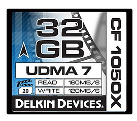 Delkin 32GB Compact Flash 1050X UDMA 7 Cinema Memory Card - 120MB/s Write Speed. DDCF1050-32GB Multi Format and Universal