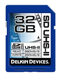 Delkin 32GB SDHC Cinema Cards UHS2 Class 3 - 280MB/s Read-250MB/s Wrt. DDSDUHS232GB Multi Format and Universal