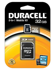 Duracell 32GB Micro SDHC Class 4 2in1 Kit Including SD Adapter Flash Card Multi Format and Universal