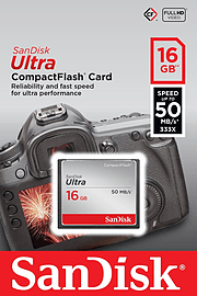 SanDisk 16GB 50MB/s ULTRA Compact Flash FlashCard. Multi Format and Universal