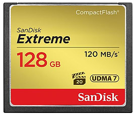 SanDisk 128GB Extreme Compact Flash Card 120MB/s Read - 85MB/s Write Multi Format and Universal