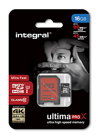 Integral 16GB UltimaPro MicroSDHC Class 10 UHS-I Card 90MB/s.+ SD Adapter Multi Format and Universal