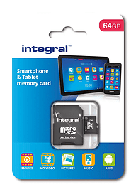 Integral-64GB MicroSDXC Class 10 Smartphone/Tablet Card With Adapter To SD Card. Multi Format and Universal