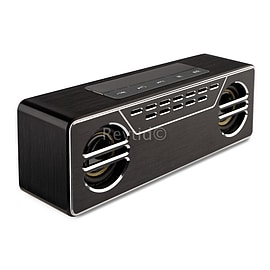 Reytid Wireless Vintage BOOMBOX 4.0 Bluetooth Speaker & Equalizer - Chrome/Black - 2x5W Drivers, Mic Audio