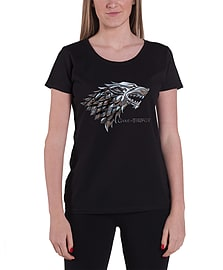 Game Of Thrones T Shirt Womens Chrome Stark Logo Official New Black Skinny FitSize: 14 Clothing