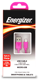 Energizer 1.2 Metre Micro USB to USB Cable - Colour: Pink Audio