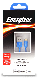 Energizer 1.2 Metre Apple Lightning Connector to USB Cable - Colour: Blue Audio
