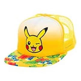POKEMON Unisex Pikachu Winking Face with Floral Pattern Trucker Snapback Baseball Cap, One Clothing