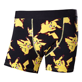 POKEMON Adult Male Dancing Pikachu All-Over Pattern Boxer Short, Medium, Black (ZB0405 Clothing