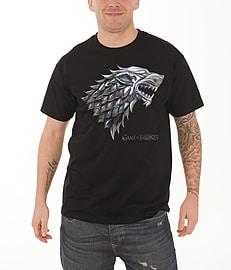 Game Of Thrones T Shirt Chrome Stark House Wolf Logo Official Mens New Black Size: S Clothing