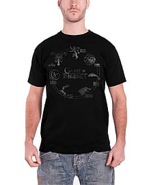 Game Of Thrones Silver House Sigil T Shirt Wolf HBO TV Show Mens T Shirt Black Size: XXL Clothing