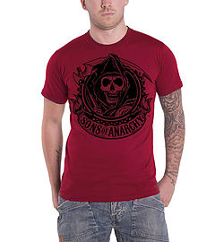 Sons Of Anarchy T Shirt SOA Reaper Banner Official Mens New RedSize: M Clothing
