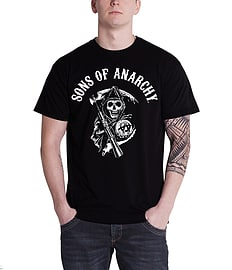 Sons Of Anarchy Classic reaper Logo Official Mens New Black T ShirtSize: XL Clothing
