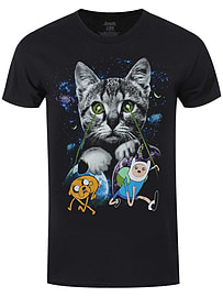 Adventure Time Space Cat Lasers Black Men's T-shirt: Extra Large (Mens 42- 44) Clothing