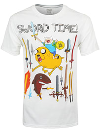 Adventure Time Sword Time White Men's AT T-shirt: Medium (Mens 38 - 40) Clothing