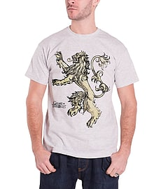 Game Of Thrones T Shirt Lannister Lion emblem Official Mens New Grey Size: Medium Clothing