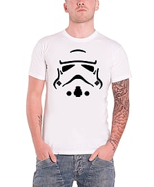 Star Wars T Shirt mens Stormtrooper Vector helmet force awakens Official White Size: Small Clothing