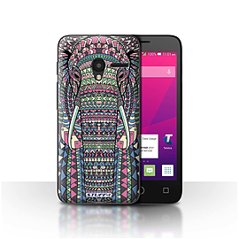 STUFF4 Case/Cover for Alcatel OneTouch Pixi 3 4/Elephant-Colour Design/Aztec Animal Mobile phones