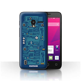 STUFF4 Case/Cover for Alcatel OneTouch Pixi 3 4 / Blue Design / Circuit Board Collection Mobile phones