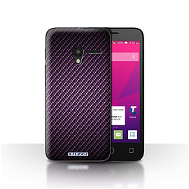 STUFF4 Case/Cover for Alcatel OneTouch Pixi 3 4/Purple Design/Carbon Fibre Effect/Pattern Mobile phones