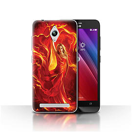 Official Elena Dudina Case/Cover for Asus Zenfone Go ZC500TG/Fire Dress Design/Dragon Reptile Mobile phones