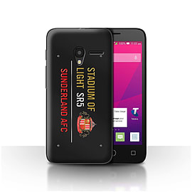 Sunderland AFC Case/Cover for Alcatel OneTouch Pixi 3 4/Black/Gold Design/SAFC Stadium of Light Sign Mobile phones