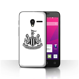 Newcastle United FC Case/Cover for Alcatel OneTouch Pixi 3 4.5/Mono/White Design/NUFC Football Crest Mobile phones