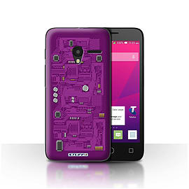 STUFF4 Case/Cover for Alcatel OneTouch Pixi 3 4.5 / Purple Design / Circuit Board Collection Mobile phones