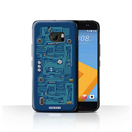STUFF4 Case/Cover for HTC 10/One M10 (2016) / Blue Design / Circuit Board Collection Mobile phones