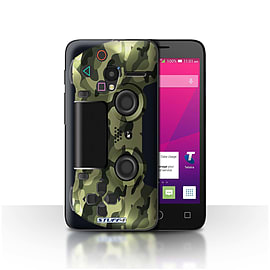 STUFF4 Case/Cover for Alcatel OneTouch Pixi 3 4/Green Camouflage Design/Playstation PS4 Mobile phones