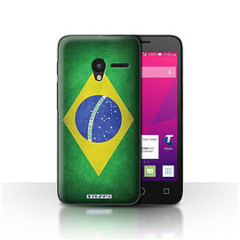STUFF4 Case/Cover for Alcatel OneTouch Pixi 3 4.5 / Brazil/Brazilian Design / Flags Collection Mobile phones