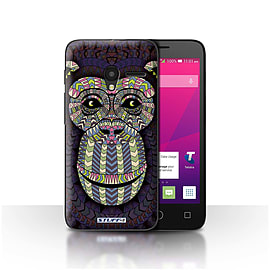 STUFF4 Case/Cover for Alcatel OneTouch Pixi 3 4/Monkey-Colour Design/Aztec Animal Mobile phones