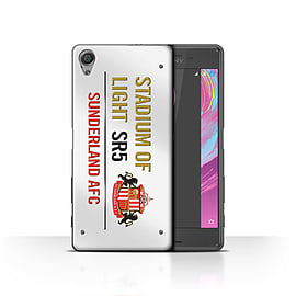 Official Sunderland AFC Case/Cover for Sony Xperia X/White/Gold Design/SAFC Stadium of Light Sign Mobile phones