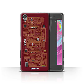 STUFF4 Case/Cover for Sony Xperia X Performance / Red Design / Circuit Board Collection Mobile phones